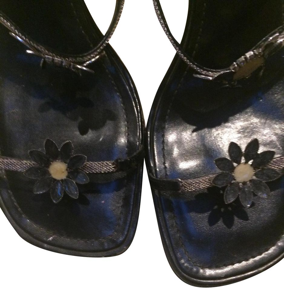 Enzo Angiolini Silver and Navy Blue Sandals Size US 8.5 Regular (M ... d4705969497b