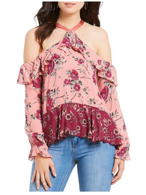 Preload https://img-static.tradesy.com/item/23037244/rose-cold-shoulder-long-sleeve-ruffle-ribbon-tie-blouse-size-12-l-0-0-650-650.jpg