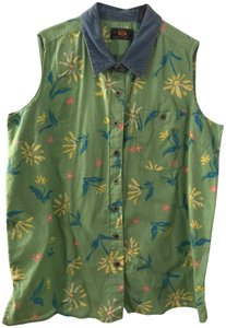 Route 66 New Sleeveless Button Down Shirt green multi