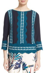 Tory Burch 3/4 Sleeves Scalloped Silk Lined Boatneck Top navy ivory