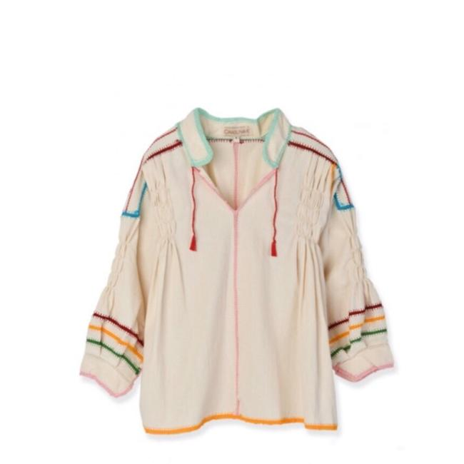 Item - Cream Oaxacan Crochet Primary Colors Blouse Size 2 (XS)