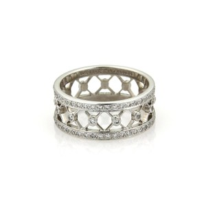 Tiffany & Co. VOILE Diamond Platinum 8mm Wide Fancy Band Ring