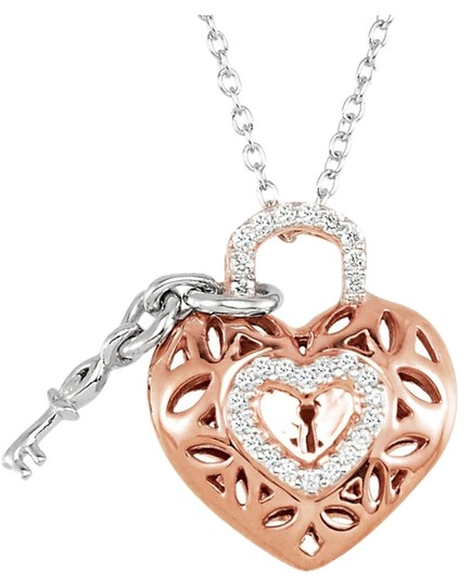 Other Diamond Heart and Key Necklace