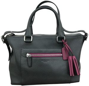 Coach Textured Leather Satchel in Graphite/Berry