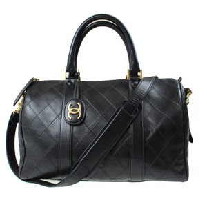 Chanel Vintage Boston Calfskin Leather Satchel in black
