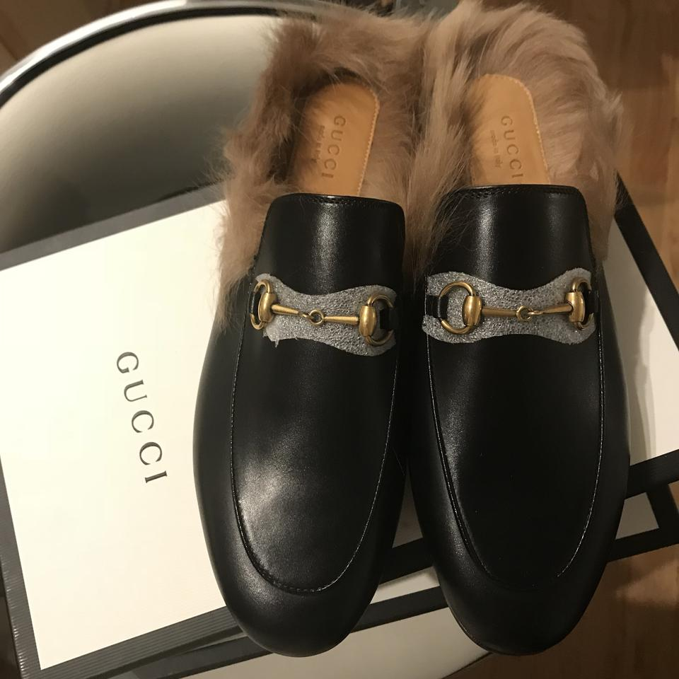d685fc172e81 Gucci Black Princetown Leather Fur Slip-on Loafers Slippers Men s ...