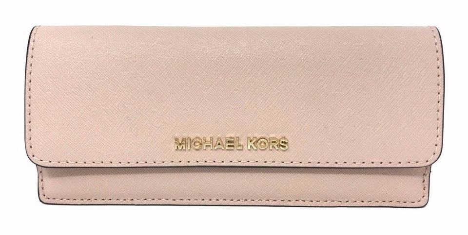 dd2bf2312fc9ce Michael Kors Jet Set Travel Flat Wallet Blossom Pink Pvc Leather Wristlet