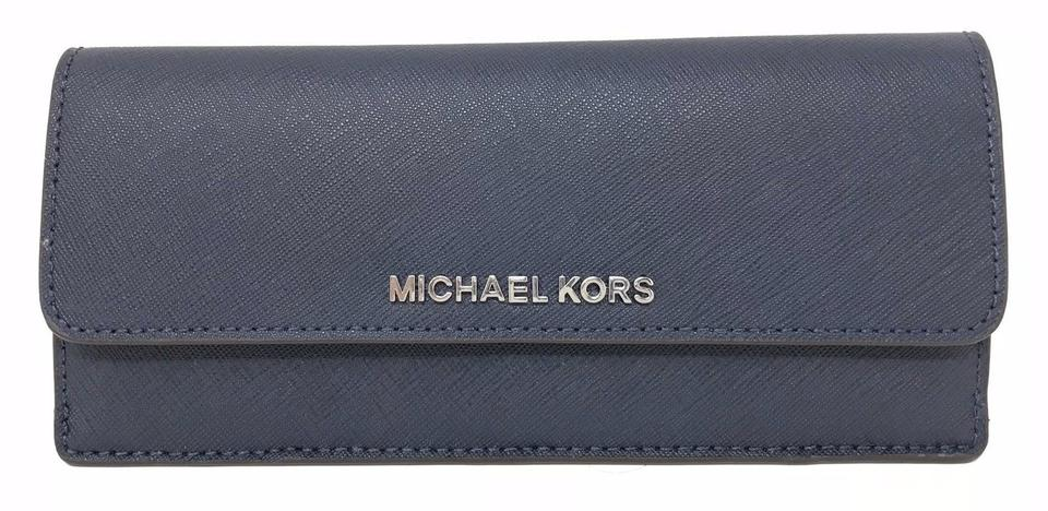 4fe1c9d8cb65 Michael Kors Jet Set Travel Flat Wallet Navy Steel Blue Pvc Leather Wristlet