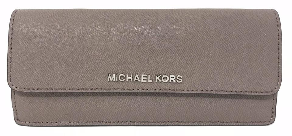 c0ac53463a75 Michael Kors Jet Set Travel Flat Wallet Cinder Ecru Pvc Leather Wristlet