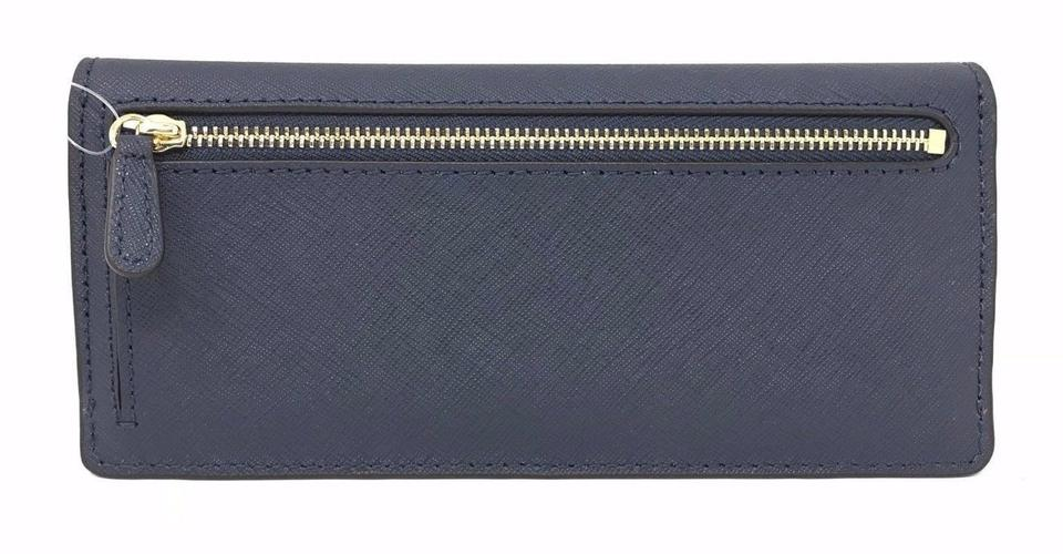 ccb9af73f559c4 Michael Kors Jet Set Travel Flat Wallet Navy Pvc Leather Wristlet ...