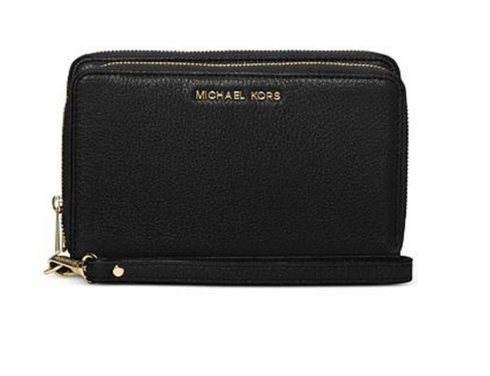 a604dbd48c80 Michael Kors Mk Leather Cinder 191262317514 Wristlet in black gold Image 0  ...