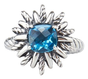 David Yurman David Yurman Starburst Sterling Silver 925 Blue Topaz Ring, Size 7 (38598)
