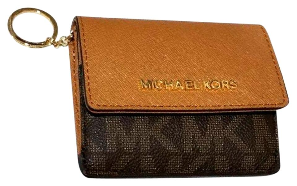 b898aed91a34 Michael Kors Jet Set Travel Card Case Id Key Holder Wallet Electric Blue  brown pvc Clutch ...
