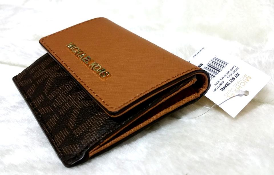bfe994805529 Michael Kors Jet Set Travel Card Case Id Key Holder Wallet Electric Blue  brown pvc Clutch ...