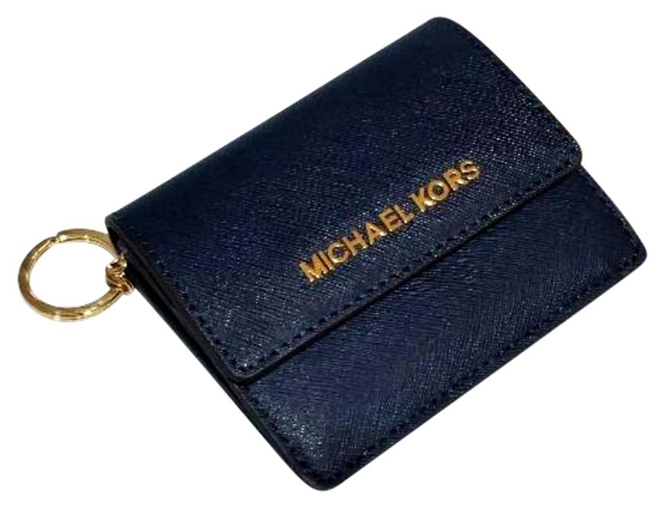 8273b8883cd0dc Michael Kors Jet Set Travel Card Case Id Key Holder Wallet Electric Blue  navy Clutch Image ...