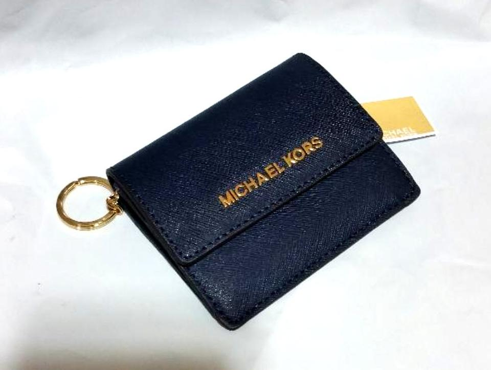 2a922a60b70419 Michael Kors Jet Set Travel Card Case Id Key Holder Wallet Electric Blue  navy Clutch Image. 1234
