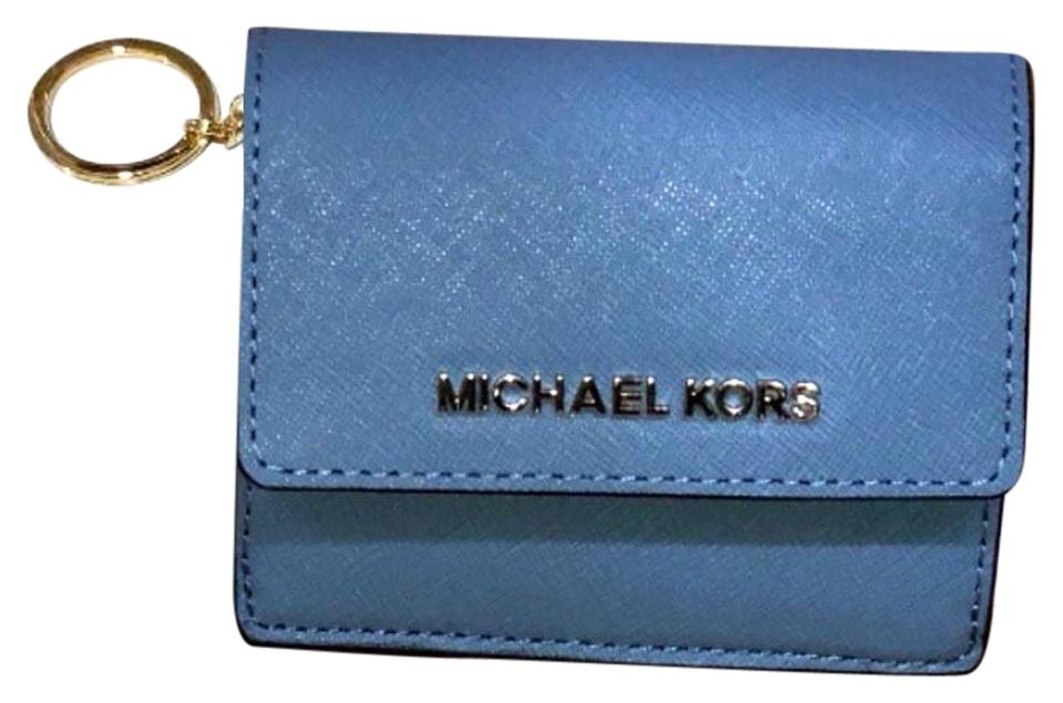 6fdb098340acda Michael Kors Jet Set Travel Card Case Id Key Holder Wallet Electric blue  Clutch Image 0 ...