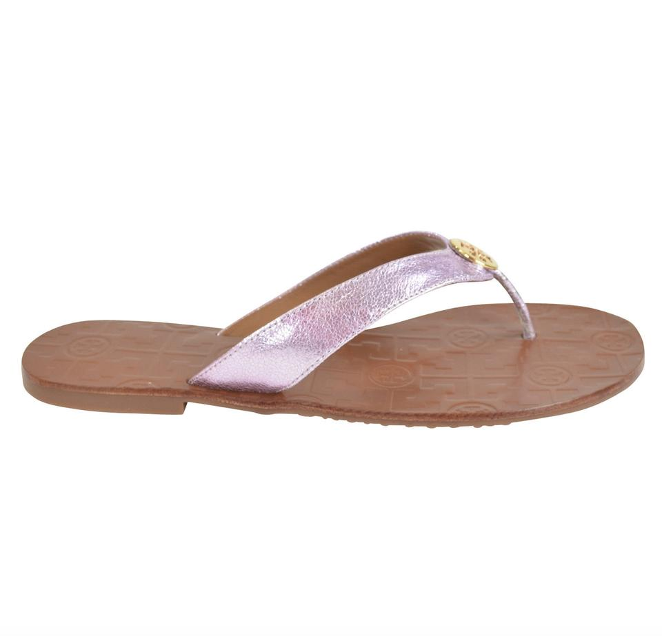 c32fddfc55490 Tory Burch Rose Metallic Thora Reverse Leather Thong Sandals Size US ...