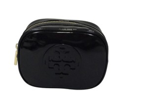 Tory Burch NWT TORY BURCH STACKED PATENT SMALL COSMETIC CASE BAG CLUTCH BLACK