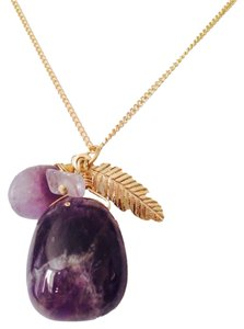 Other NWOT Amethyst Gemstone & Feather Gold-Tone Necklace