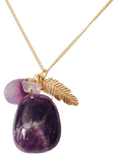 Preload https://img-static.tradesy.com/item/2303872/purplegold-nwot-amethyst-gemstone-and-feather-gold-tone-necklace-0-0-540-540.jpg