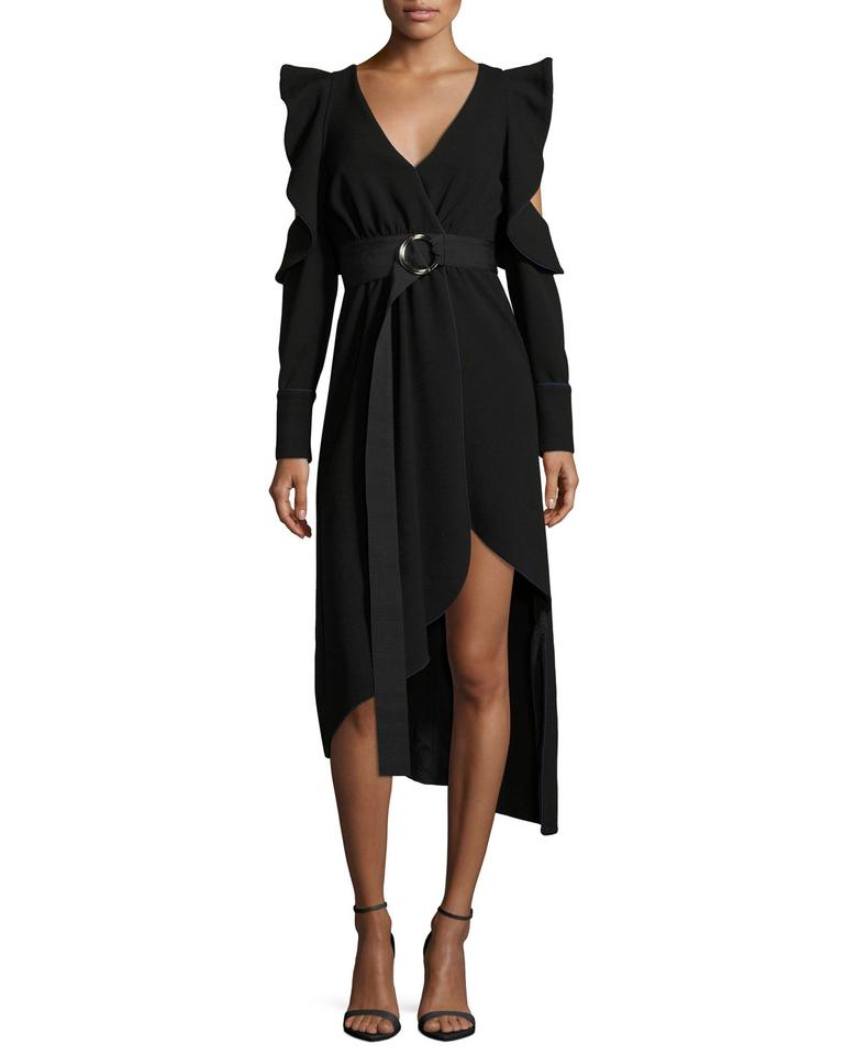 1416c441b1bd self-portrait Black W Asymmetric Belted Faux-wrap Crepe W/ Cutouts ...