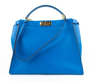 Fendi Peekaboo Studded Leather In Italy Shoulder Bag. Fendi Royal Monster  Peekaboo Studded Blue ... 2cb074a91408e