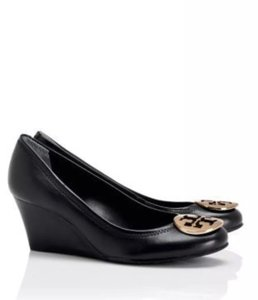 Tory Burch Black Sally Gold Leather Wedges