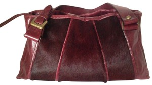 Marco Buggiani Pony Hair Leather Italian Satchel in Wine