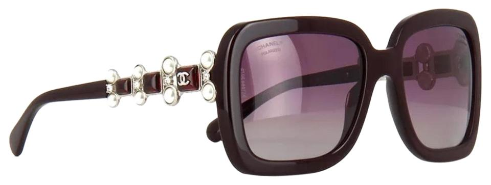 ccdaa06ac8c2 Chanel Burgundy Limited Edition Bijou Pearl Square Polarized 5335 1461/K5  Sunglasses