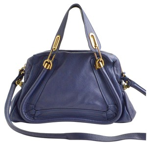 Chloé Paraty Storm Medium With Gold Hardware Blue Leather Hobo Bag
