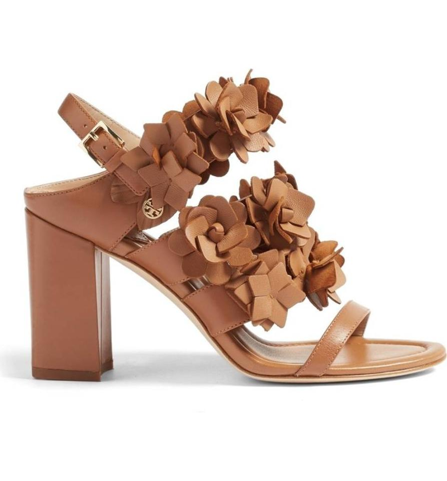 4d739c774 Tory Burch Tan Blossom 65mm Leather Block Heel Sandals Size US 7.5 ...