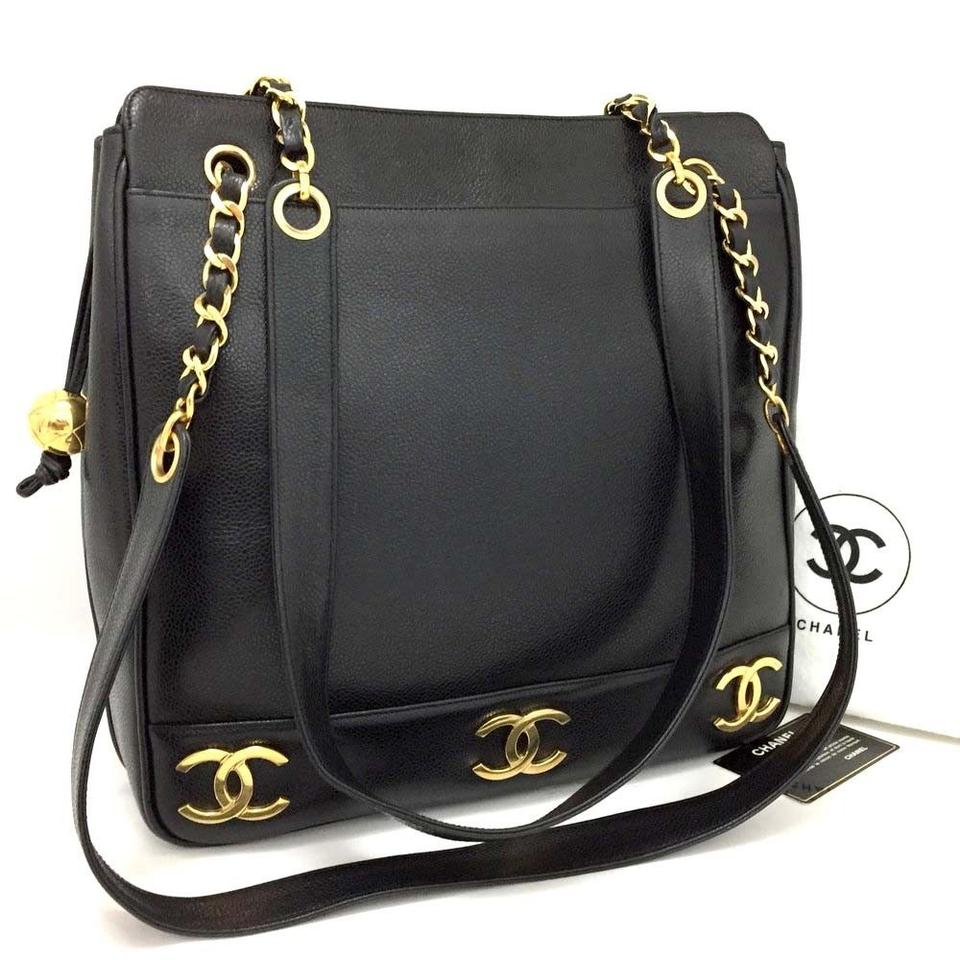 1404a6989b78 Chanel Shopping Caviar Cc Gold Plated Motifs Black 5730 Leather Tote ...