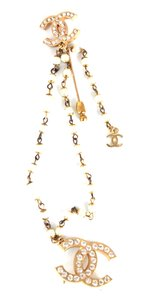 Chanel Ultra RARE Double CC crystals pearls gold hardware brooch pin charm