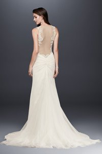 David's Bridal Ivory Polyester/Stretch Jersey Beaded Lace with Illusion Details Sexy Wedding Dress Size 16 (XL, Plus 0x)