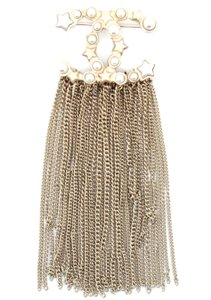 Chanel Extremely RARE CC star pearls tassel gold hardware brooch pin charm
