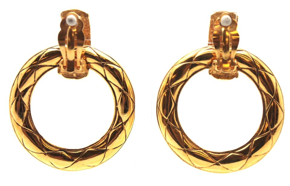 Chanel Rare Clic Quilted Gold Two Way Dangle Clip On Earrings