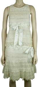 Valentino Crochet Cotton Ribbon Sleeveless Dress