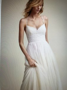 BHLDN Almond Polyester Tulle Lace; Polyester Lining By Willowby For Watters Rosalind Gown Vintage Wedding Dress Size 2 (XS)