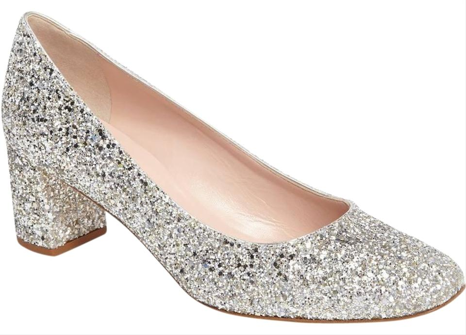 e2f1979b2f1 Kate Spade Silver Gold Glitter Dolores Block Heel Pump Formal Shoes ...