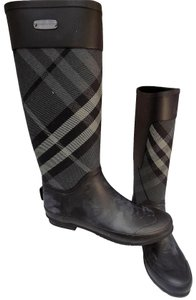 Burberry Rainboots Check Clemence Black Boots