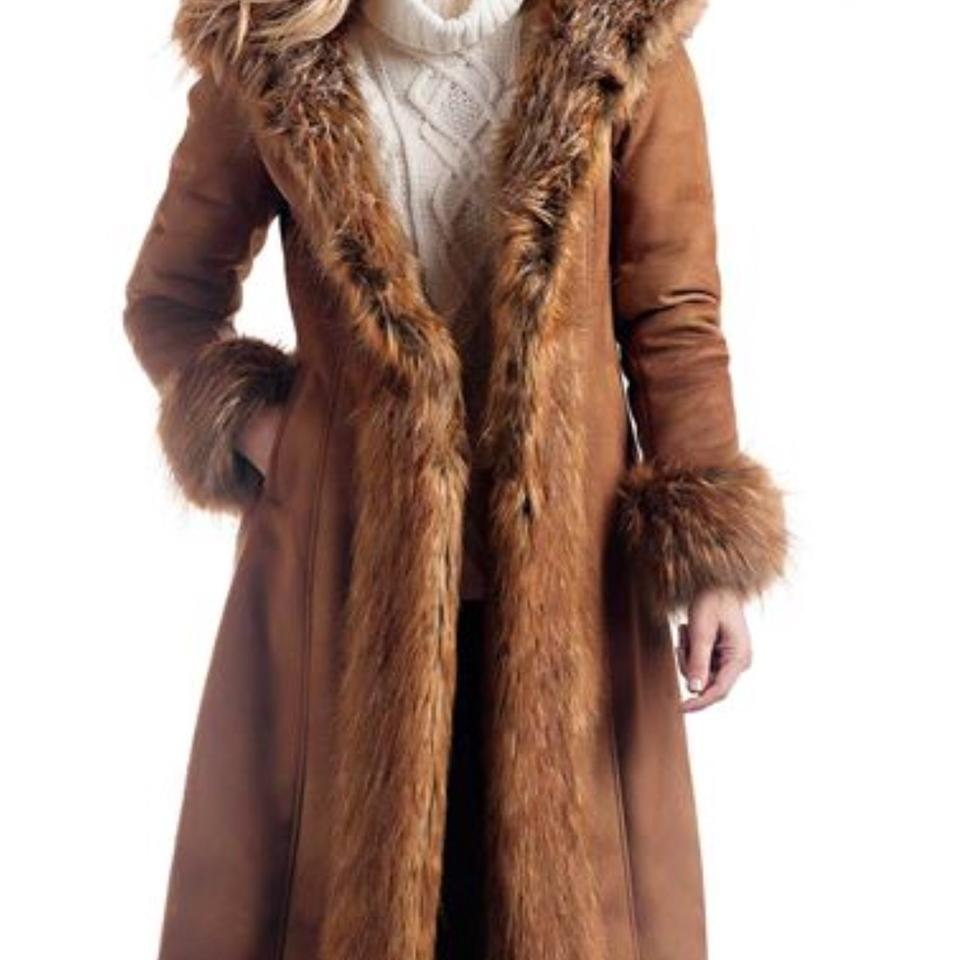 8716374d691 Donna Salyer Beige Tan Fabulous Furs Tobacco Faux Suede and Full Length Coat