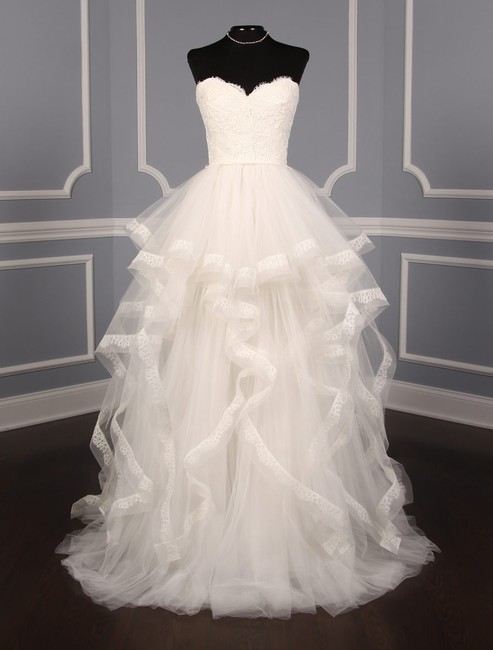 Item - Light Ivory French Alencon Lace Tulle Chantilly Lace & Horsehair I'm Breathtaking Formal Wedding Dress Size 10 (M)