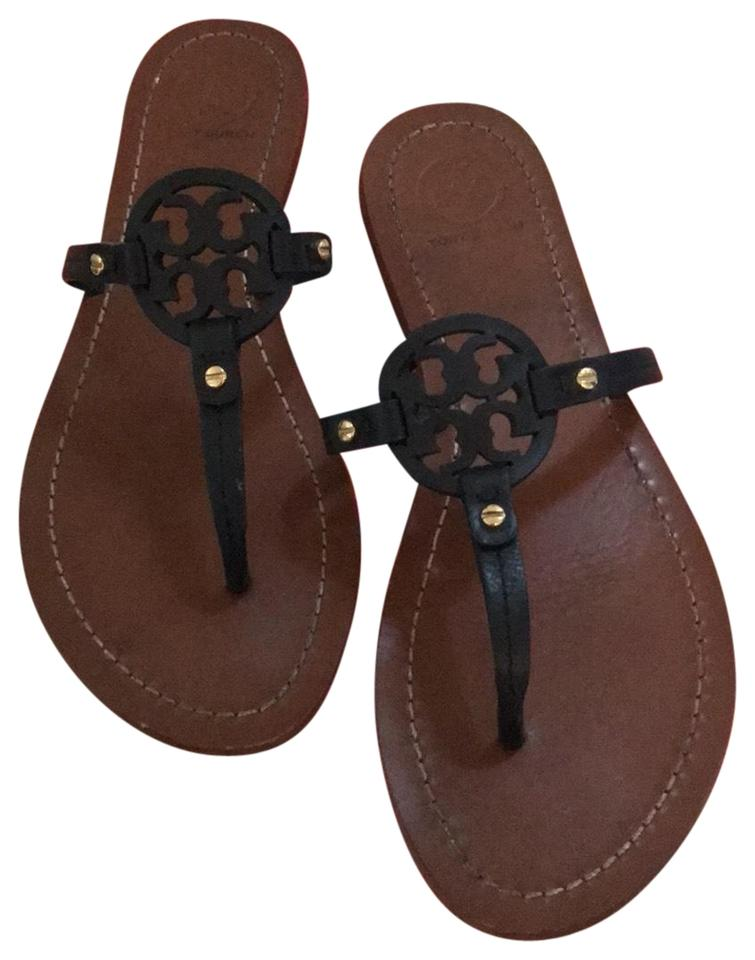 348f76fe8 Tory Burch Dark Navy Black 32340 Mini Miller Flat Thong Sandals Size ...