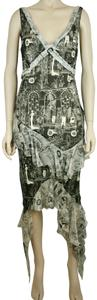 John Galliano Lined Silk Abstract Asymetric Sexy Dress