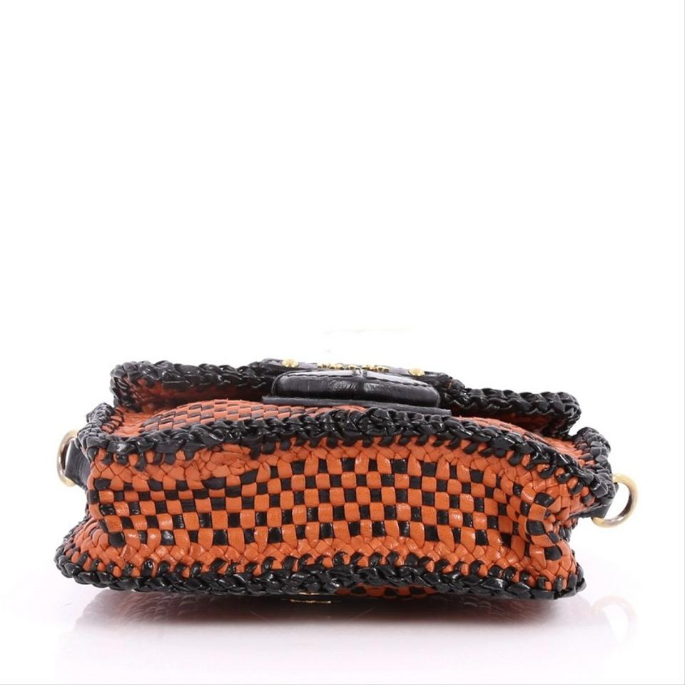 e888ed943e63 Prada Push Lock Madras Woven Small Orange and Black Leather Shoulder Bag -  Tradesy