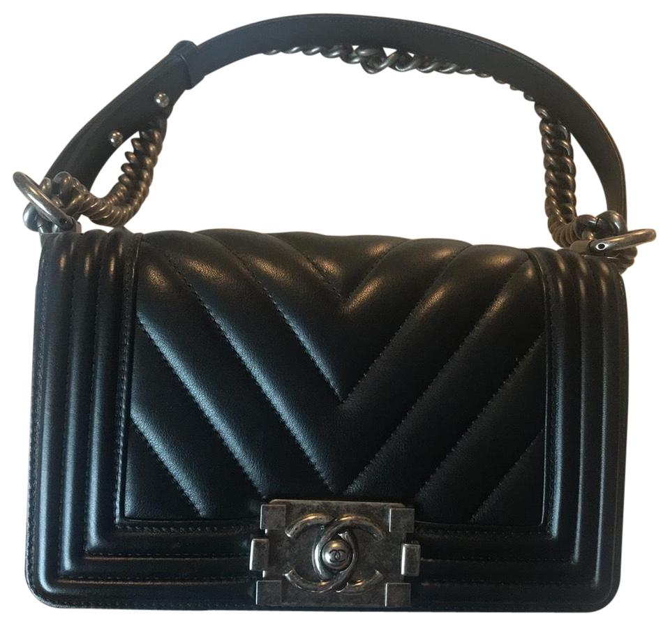 e75b927c1b8b4e Chanel Boy Small Chevron Black with Ruthenium Hardware Lambskin Leather  Cross Body Bag
