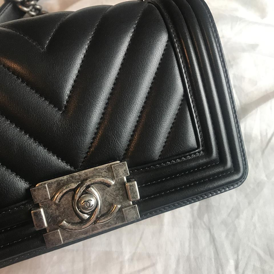 424c5f8995c1 Chanel Boy Small Chevron Black with Ruthenium Hardware Lambskin ...