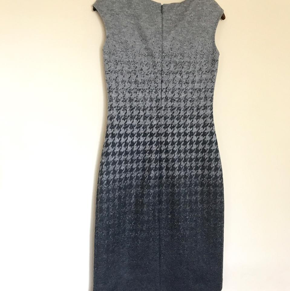 Carolina Herrera Gray/Black Wool Mid-length Cocktail Dress Size 4 (S ...