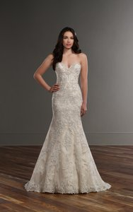 Martina Liana Ivory Lace and Champagne Royal Organza Over Oyster Dolce Satin & 787 Traditional Wedding Dress Size 10 (M)